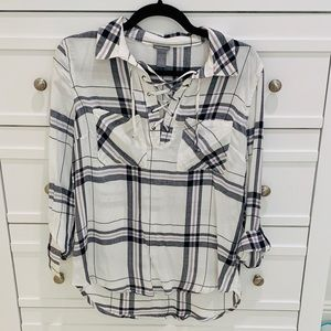 Plaid hi-lo lace-up blouse